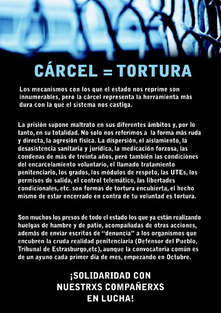 Cartel Cárcel=Tortura
